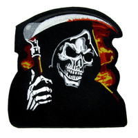 Burn in Hell Grim Reaper Patch Iron On Applique Alternative Clothing