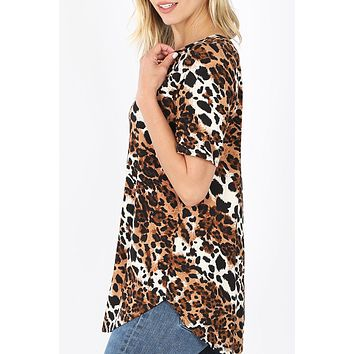 Relaxed Fit V Neck Short Sleeve Leopard Print Top