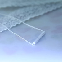 Silver Bar Pendant Necklace Simple Bar Jewelry