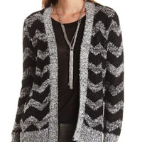 Marled Chevron Open Front Cardigan Sweater