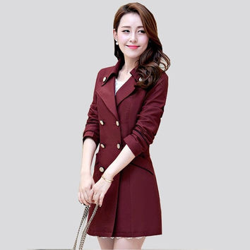 Trench Coat For Women Fashion Slim Solid Hot Sale Double-Breasted Winter Wool Peacoat = 1956256452
