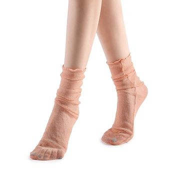 Diamond Sheer Crew Sock | Pink