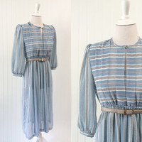1980s vintage dress sheer chiffon blue white lilac & grey striped high waist pouf sleeve midi  // pleated bust // petite size XS