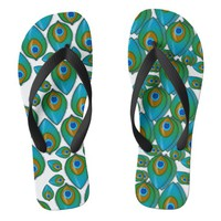 Retro Peacock Pattern Flip Flops | Zazzle.co.uk