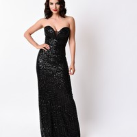 Black Sexy Strapless Sheer Sequin Long Dress 2016 Prom Dresses