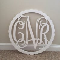 Wooden Monogram with BORDER-Monogram Wall Hanging-Wedding Monogram-Wooden Letters - Nursery Decor - Vine Script Wooden Monogram-Wall Hanging