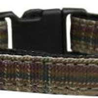 Plaid Nylon Collar  Brown Cat Safety