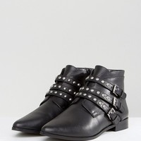 ASOS ALERTED Leather Studded Ankle Boots at asos.com