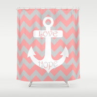 Anchor Chevron Gray Coral Pink Shower Curtain by BeautifulHomes   Society6
