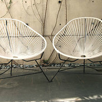 Acapulco Chairs 2 Chairs Eames Nelson Miller Rattan MCM CBC Outdoor Patio Wicker