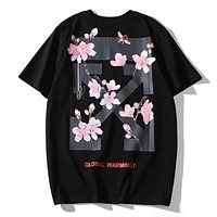 Off White Summer New Fashion Back Cross Arrow Floral Print Women Men Sports Leisure Top T-Shirt Black