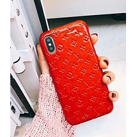 Louis Vuitton LV Trending Stylish Candy Color iPhone Phone Cover Case For iphone 6 6s 6plus 6s-plus 7 7plus 8 8plus X Red I-OF-SJK