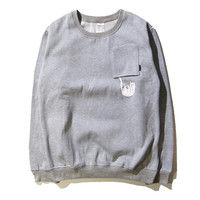 RIPNDIP Lord Nermal Grey Pocket Crew Neck Sweatshirt