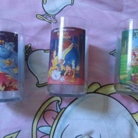 Vintage Collectors Aladdin, Beauty & The Beast and Snow White Burger King 90s Cups Set Of 3