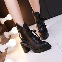 Studded Ankle Boots Women High Heels Shoes Fall|Winter
