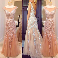 V-Back Prom Dress,Champagne Prom Dresses,Long Evening Dress