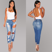 Hot Fashion Lady Ripped Jeans for Women Jeans Woman Sexy Hole Casual Pencil High Waist Denim Jeans Mujer Pants Plus Size M-XXL