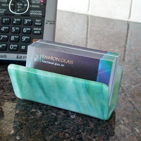 Business Card Stand Sage Green Desk Accessory for Card Display