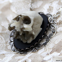Skull Cameo necklace  Eternal  Victorian Gothic 3D by RemoteLuxury