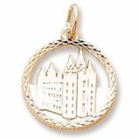 Mormon Temple Charm In Yellow Gold