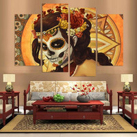 Hand Painted Abstract Canvas Painting Oil painting Wall Art No Framed Decoration Fashion Picture 4pns A022