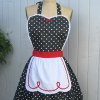 apron LUCY  retro apron  red with black by loverdoversclothing