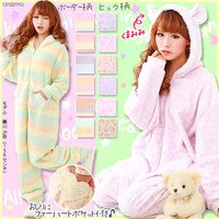 Rakuten: ●Reservation ● [ふわもこ micro fiber ♪ horizontal stripes heart pocket bear ear all-in-one |] P]◆ 10/30 shipment plan- Shopping Japanese products from Japan