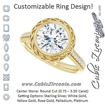 Cubic Zirconia Engagement Ring- The Itzayana (Customizable Cathedral-Bezel Round Cut Design featuring Accented Band with Filigree Inlay)