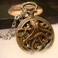 Octopus with Gears Steampunk Pocket Watch Pendant Necklace  (1811)