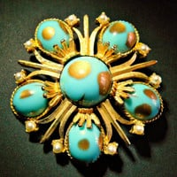 Cathe Cabochon Brooch Turquoise Art Glass Pearl Vintage Rare