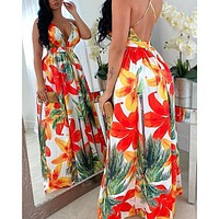 Fashion printed halter sexy big dress women's dress