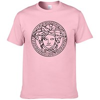 Versace New fashion people head print couple top t-shirt Pink
