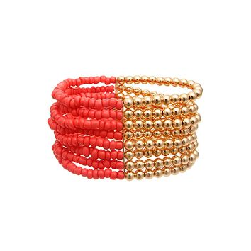 Coral and Gold Seed Bead Bracelet