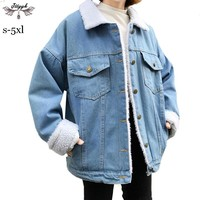 S-5XL 2018 Winter Women Coat Lamb Fur Denim Jacket Thick Warm Loose Oversize Bomber jacket Cotton Outerwear casaco feminino L205