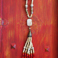 Tassel necklace, bead and stone tassel, on a lightweight bronze chain