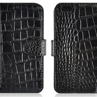 """Angibabe Alligator Pattern Wallet Design Leather Flip Case with Mount Stand & Credit Card Slots for 5.5"""" iPhone 6 Plus (Black)"""