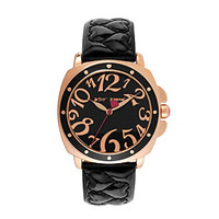 Betsey Johnson® Quilted Heart Black Strap Watch at www.bonton.com