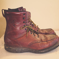 Men's Boots Brown Leather Fin & Feather  Distressed Work Boot Construction  Men's  Size 11-11.5