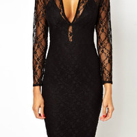Black Plunge Sheer Lace Panel Long Sleeve Bodycon Dress