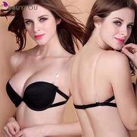 Women's Underwear Bra Set Deep V Push Up Sexy Bra Set Strapless Dress Bra B Cup Lingerie Solid Sutia Calcinha [Chinese Size]