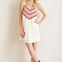 Ivory Embroidered Strappy Shift Dress