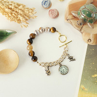 Fairy Tale Inspired Arm Candy made of Tiger's Eye, Retro Agate, Citrine Crystals and Stones