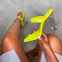 Fashion Crystal heel  Word band Toe Circle toes sandals women shoes Transparent Heel yellow