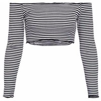 Off The Shoulder Striped Crop Top