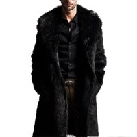 New 2018 Fashion Men Faux Fur Long Section of the Coat Men Autumn Winter Warm Imitation Fur Fur Wool Jacket USA Shipping S4