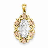 14k Two Tone Gold Guadalupe Pendant