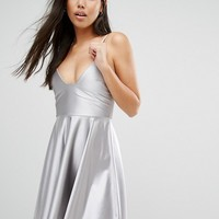 Boohoo Satin Strappy Skater Dress at asos.com