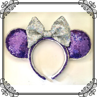 Purple and silver sequin disney ears, purple glitter disney ears, purple sparkle minnie ears, sparkle disney ears, glitter Minnie Mouse ears