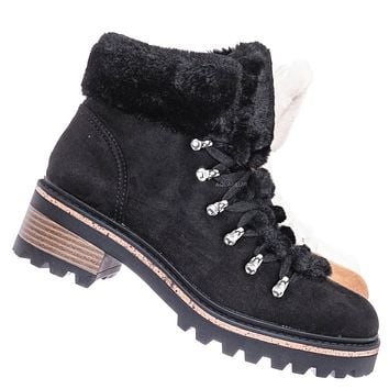 Edison05 Shearling Military Combat Bootie -Faux Fur Collar Lace Up Lug Sole Shoe