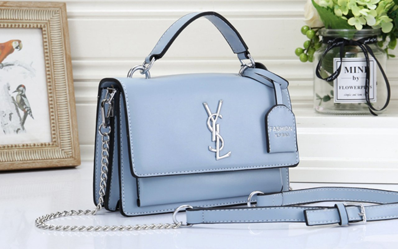 Image of YSL hot seller of solid color clamshell shoulder bag fashionable casual lady shopping bag #3